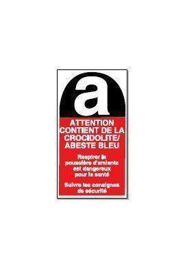 Attention Contient de la Crocidolite / Abeste Bleu