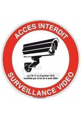 Panneau Accès Interdit Surveillance Vidéo