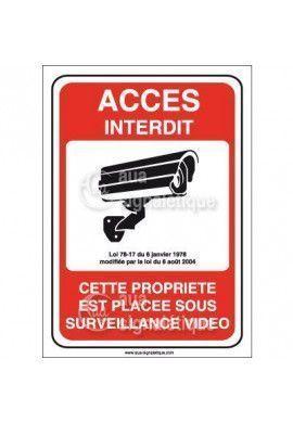 Panneau accès interdit propriété placée sous surveillance vidéo