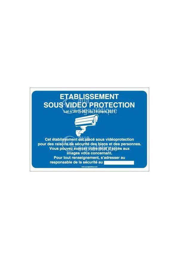 Panneau établissement sous vidéo protection - horizontal