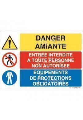 Panneau trio Danger Amiante
