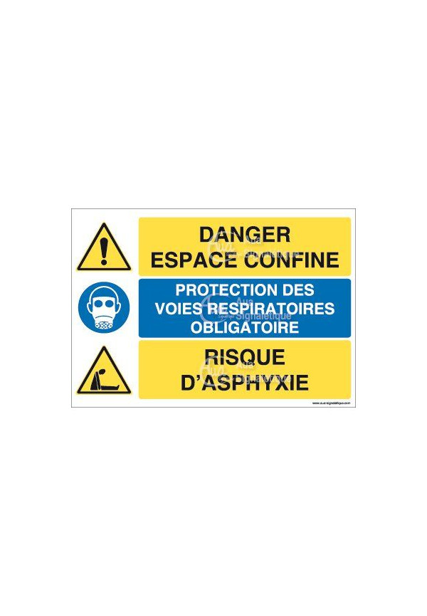 Panneau trio Danger Espace Confiné