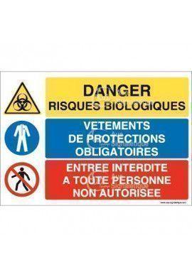 Panneau trio Danger Risques Biologiques