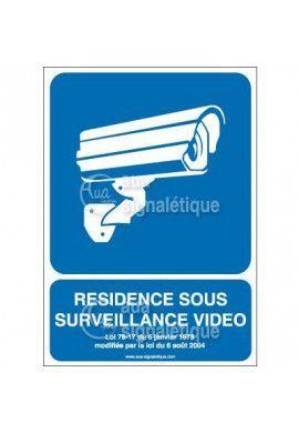 Panneau résidence sous surveillance vidéo vertical