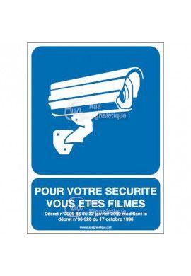 Panneau pour votre sécurité vous êtes filmés vertical