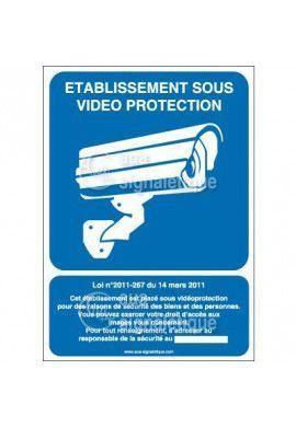 Panneau établissement sous vidéo protection - vertical