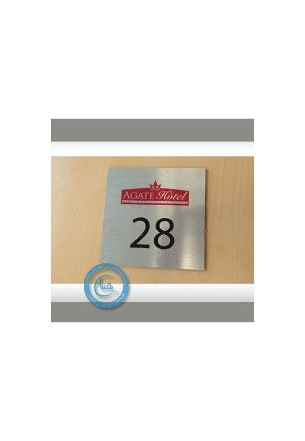 Plaque Numéro de chambre Aluminium brossé