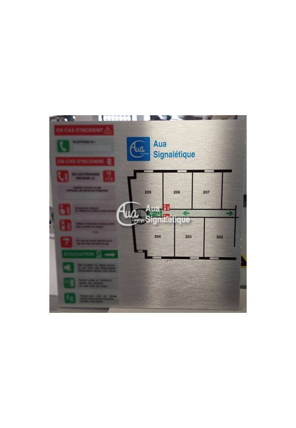 Plan d'évacuation en aluminium brossé A3