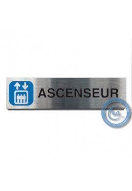 Plaque de porte Aluminium brossé Argent Ascenseur 200x50 mm