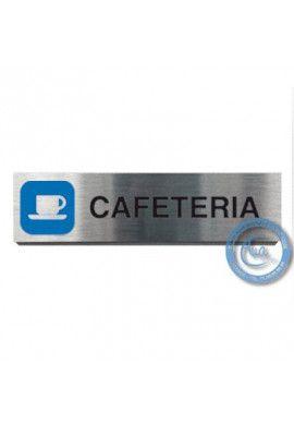 Plaque de porte Aluminium brossé Argent Cafétéria 200x50 mm