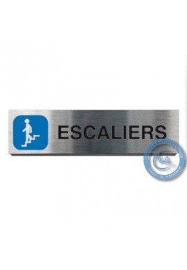 Plaque de porte Aluminium brossé Argent Escaliers Descendant 200x50 mm