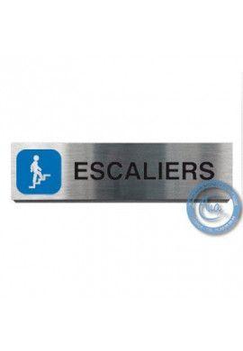 Plaque de porte Aluminium brossé Argent Escaliers Montant 200x50 mm