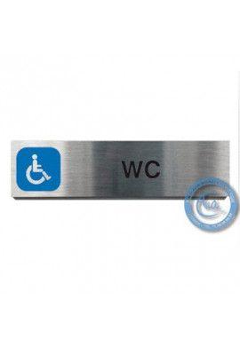 Plaque de porte Aluminium brossé Argent WC Handicapés 200x50 mm