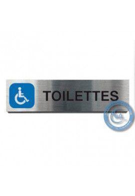 Plaque de porte Aluminium brossé Argent Toilettes handicapés 200x50 mm