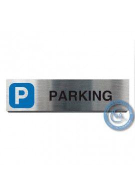Plaque de porte Aluminium brossé Argent Parking 200x50 mm