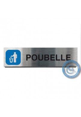 Plaque de porte Aluminium brossé Argent Poubelle 200x50 mm
