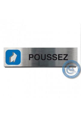 Plaque de porte Aluminium brossé Argent Poussez 200x50 mm