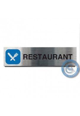 Plaque de porte Aluminium brossé Argent Restaurant 200x50 mm