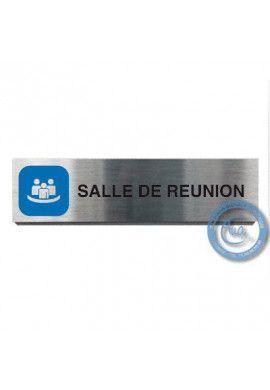 Plaque de porte Aluminium brossé Argent Salle de Réunion 200x50 mm