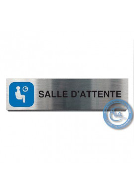 Plaque de porte Aluminium brossé Argent Salle d'Attente 200x50 mm