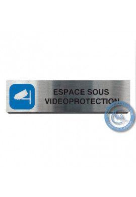 Plaque de porte Aluminium brossé Argent Espace sous Surveillance 200x50 mm