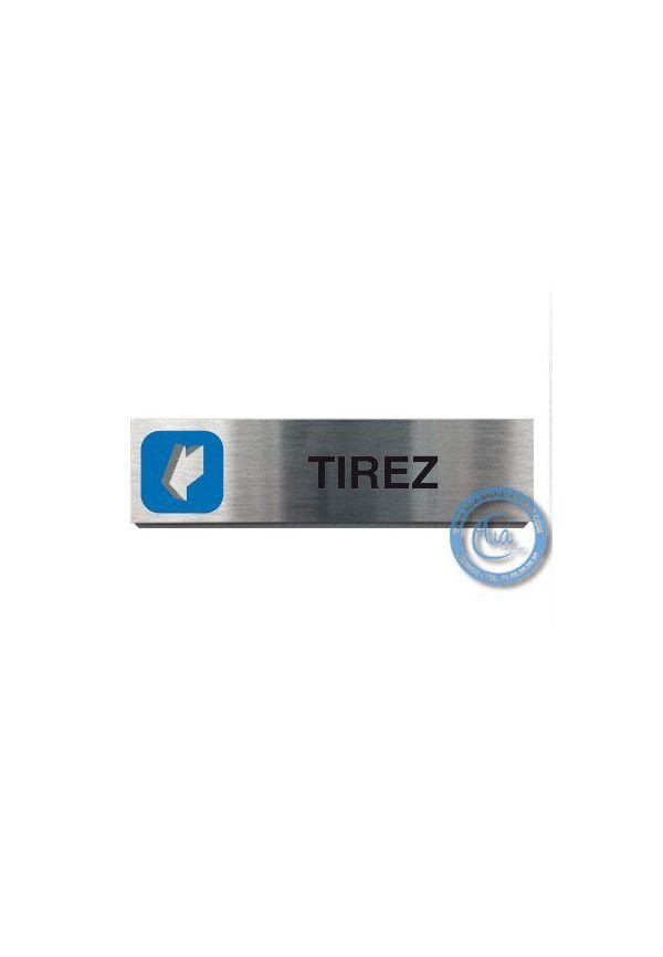 Plaque de porte Aluminium brossé Argent Tirez 200x50 mm