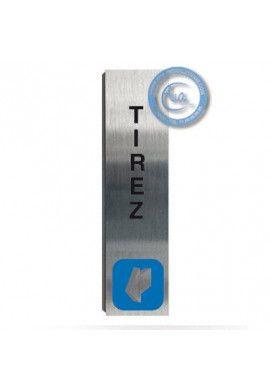 Plaque de porte Aluminium brossé Argent Tirez Vertical 200x50 mm