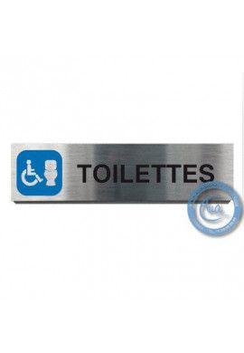 Plaque de porte Aluminium brossé Argent WC Handicapés + Cuvette 200x50 mm