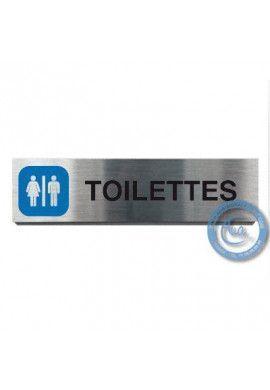 Plaque de porte Aluminium brossé Argent Toilettes 200x50 mm