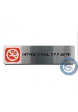 Plaque de porte Aluminium brossé Argent Interdiction de Fumer 200x50 mm
