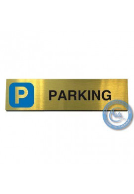 Plaque de porte Aluminium brossé doré Parking 200x50 mm