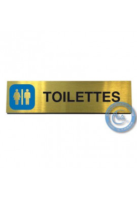 Plaque de porte Aluminium brossé doré Toilettes 200x50 mm