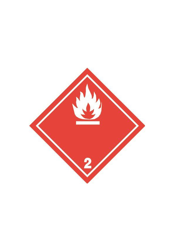 Etiquette N°2-1 Gaz inflammables-Blanc