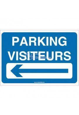 Panneau Parking visiteurs à gauche