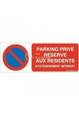 Panneau Parking Privé Réservé aux Résidents, Stationnement Interdit