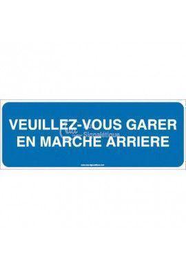 Panneau Veuillez-Vous Garer En Marche Arrière-B