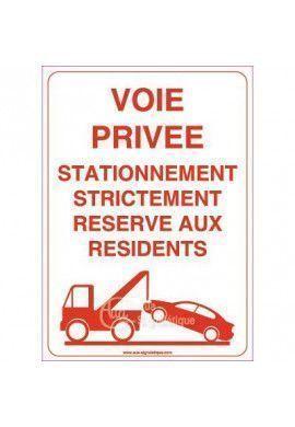 Panneau Voie Privée Stationnement Strictement Réservé Aux Résidents