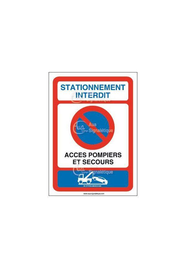 Panneau Stationnement interdit accès pompiers et secours-AI