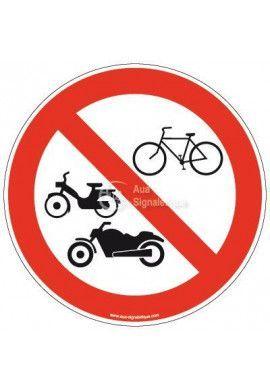 Panneau Accès interdit à tous les véhicules deux roues