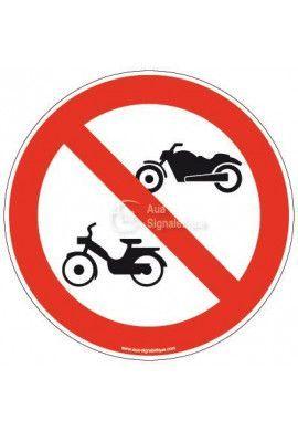 Panneau Accès interdit aux deux roues à moteur