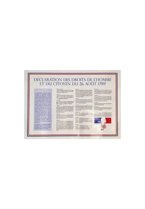 Panneau Affiche de La Déclaration des Droits de l'Homme et du Citoyen