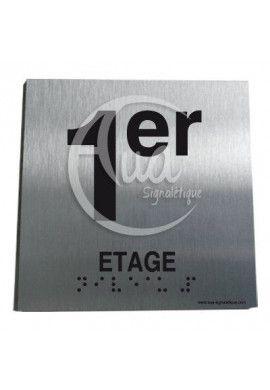 Plaque Alu Brossé Braille 1er Etage