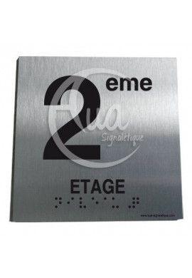 Plaque Alu Brossé Braille 2ème Etage
