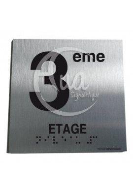 Plaque Alu Brossé Braille 3ème Etage