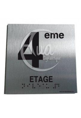 Plaque Alu Brossé Braille 4ème Etage