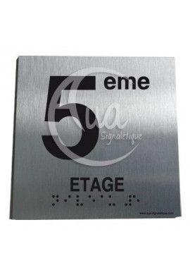 Plaque Alu Brossé Braille 5ème Etage