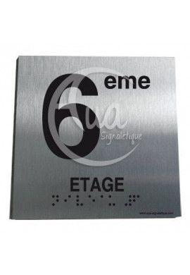 Plaque Alu Brossé Braille 6ème Etage