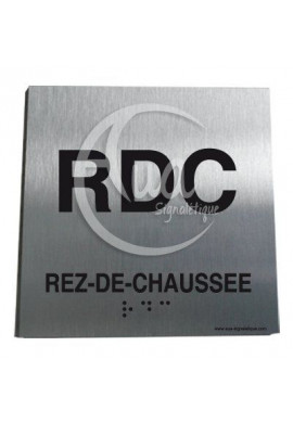 Plaque Alu Brossé Braille Rez-de-Chaussée