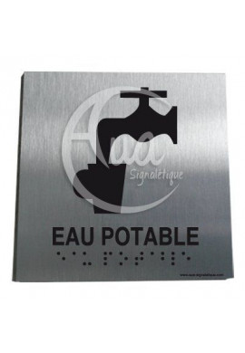 Plaque Alu Brossé Braille Eau Potable