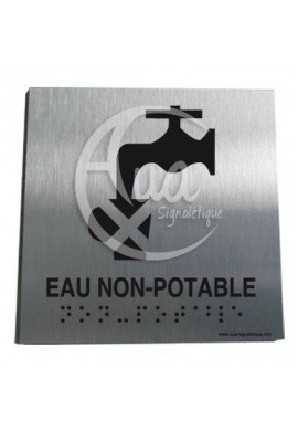 Plaque Alu Brossé Braille Eau Non Potable